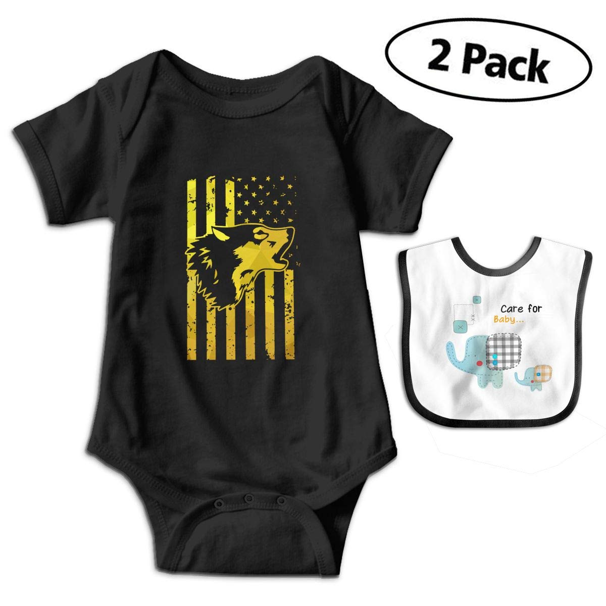 Wolf American Flag Pride Infant Baby Boys Girls Short Sleeve Romper Bodysuit Outfit Clothes