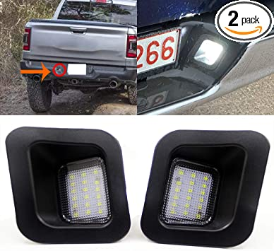 LED License Plate Light Lamp Assembly Replacement for 2003-2018 Dodge RAM 1500 2500 3500 Pickup Truck 6000K White 2-Pieces