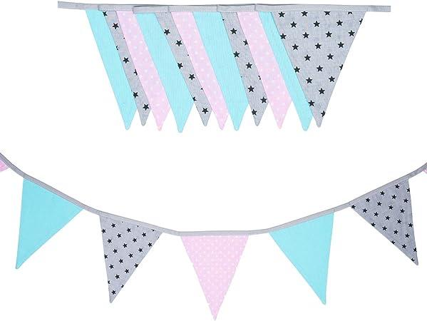 cozydots - Guirnalda de banderines de Doble Cara, Guirnalda de Tela, guirnaldas Coloridas para habitación Infantil y cumpleaños, decoración para habitación Infantil, 100% algodón (dots and stars, 200): Amazon.es: Hogar
