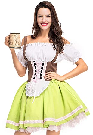 16b87aed2b19 Amazon.com: Modern current 1982 Women's Oktoberfest Beer Girl Costume  Germany Bavarian Drindl Maid Fancy Dress Halloween Costume: Clothing