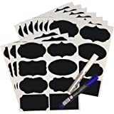 80 Pack of SUNHE Waterproof Chalkboard Labels, jar labels+ 2 Liquid Markers(Blue & White) - Perfect for labeling Jars