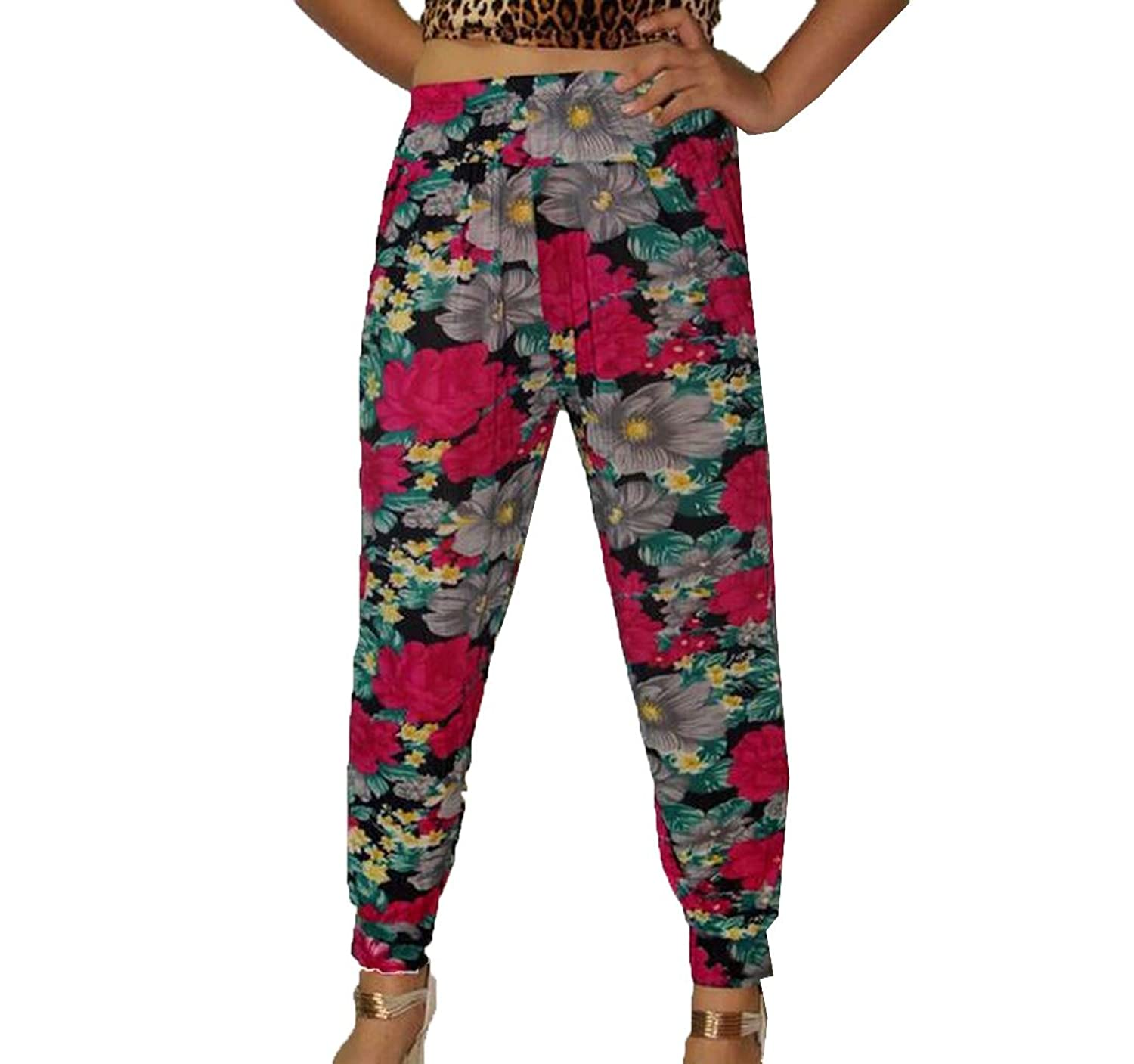 Sheng Xi Womens Beam Foot Breathable Floral Baggy Palazzo Pants