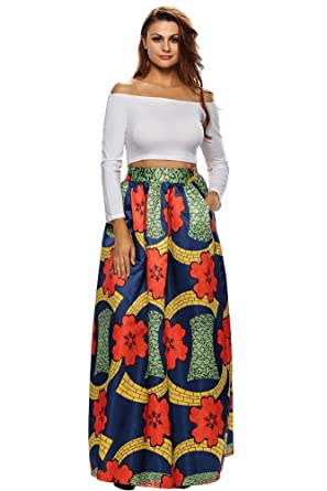 4f0e2ce0569 VIGVOG Women s Ethnic Plus-Size African Print Pull-on Maxi A-line Skirt