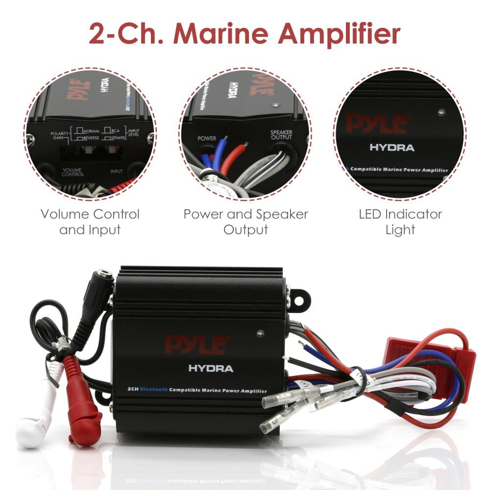 Pyle Auto 2 Channel Bridgeable Marine Amplifier 200 Also Ohm Subwoofer Wiring Diagram Furthermore How To Wire Dual Watt Rms 4 Full Range Stereo With Wireless Bluetooth Powerful Prime Speaker High