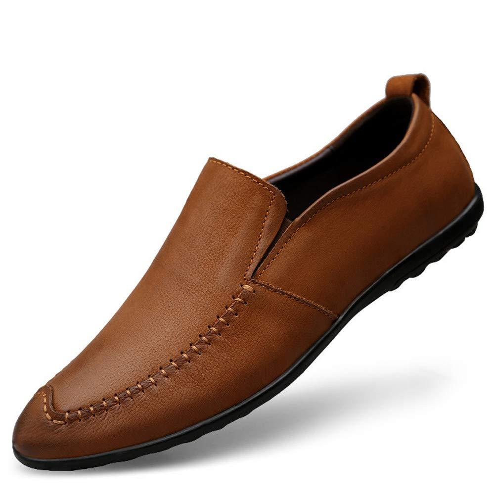 Herren-Lederschuhe, Frühjahr und Herbst Freizeitschuhe Herren-Einzelschuhe Driving Schuhe Faule Schuhe Rutschfest (Farbe : Beige, Größe : 42)
