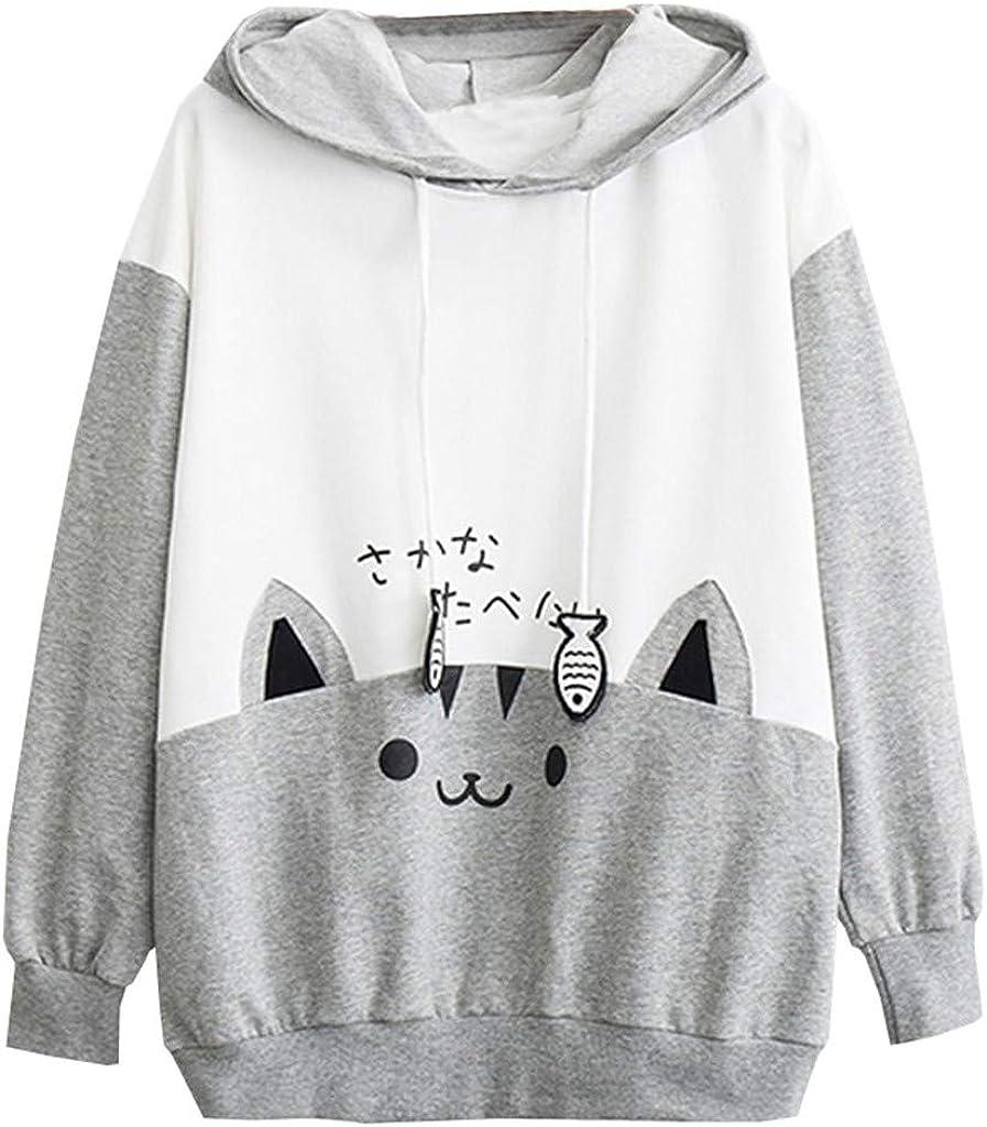 Ularma Cat Hoodie with Ears Hoodies for Teen Girls Cute Sweatshirts Plus Size Sweaters for Women Color Block Black White