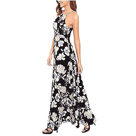Vestidos Mujer Playa Fiesta Verano Bohemio De Las Mujeres Cuello Largo Colgante Floral Y Vestido De Noche Vestido De Playa Falda De Playa: Amazon.es: Ropa y ...