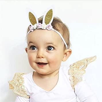 d2e3305086b Luerme Bunny Ears Baby Hairband Headband Headwrap Turban Bow Headwear  Infant Nylon Rabbit Ear Hair Band