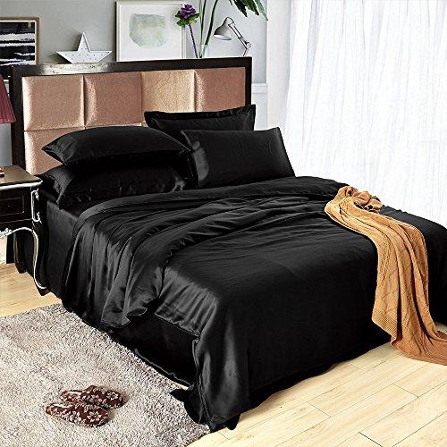 Senmiya Satin Bedding Set, Silky Sexy Duvet Cover (Silk Like) + 2 Solid Soft Pillow Shams with Hidden Zipper for hair, Elegant & Romantic Bedding Gift for Women - Black, (Black Satin Duvet)