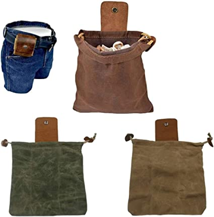 Canvas Bushcraft Bag with Leather Cover /& Buckle Foldable Heavy Duty Tool Pouch