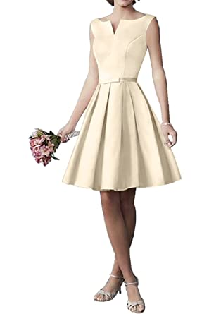 DressyMe Womens Bridesmaid Dresses Short Prom Gown Simple-6-Champagne