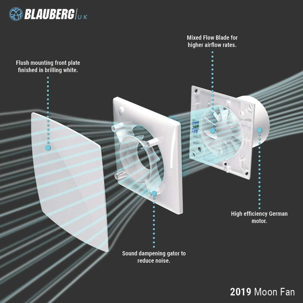 color blanco Blauberg UK MOON 100 ST Temporizador de ducha silencioso para ba/ño y extractor de cable Blauberg 100 mm