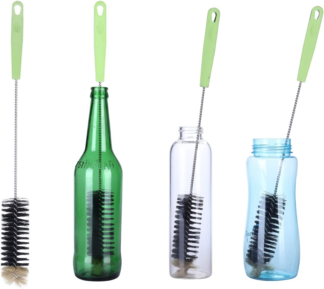 2PCS Cepillo de Botellas,Cepillo de Limpieza con Largo Mango Ideal Para Limpiar Botellas de cerveza estrecha, Cepillo Flexible con Gando para Jarra, Kombucha,Termos,Carafes(2PCS)