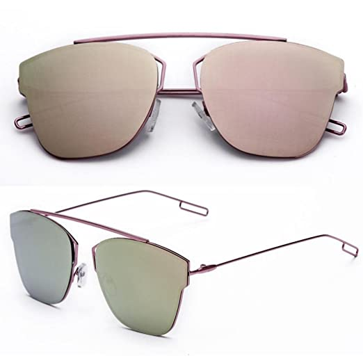 b5350ead22 Image Unavailable. Image not available for. Color  Elegant Metal Reflection  Mirror Frame Sunglasses ...