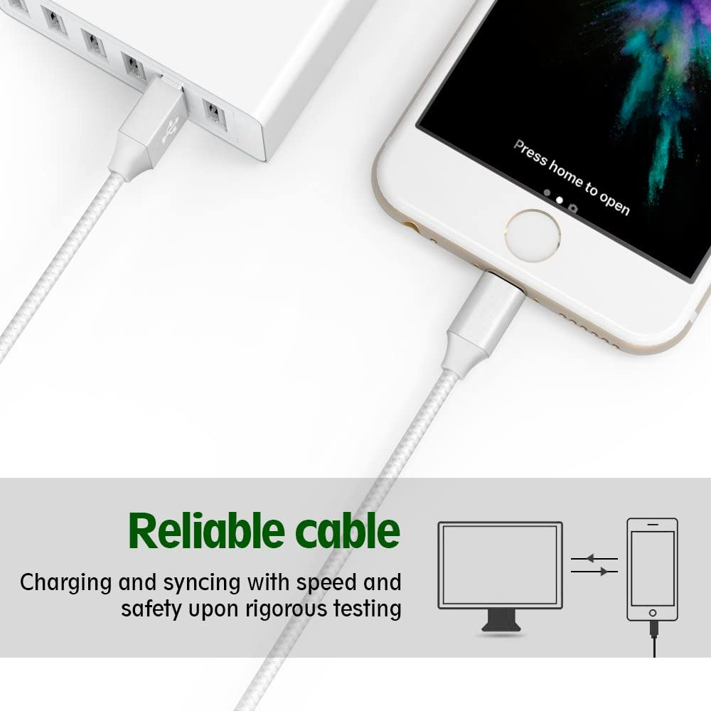iPhone Charger Mfi Certified Lightning Cables 5Pack 2x3Ft 2x6Ft 10Ft to USB Syncing Data and Nylon Braided Cord Charger for iPhone XS//Max//XR//X//8//8Plus//7//7Plus//6S//Plus//SE//iPad and More