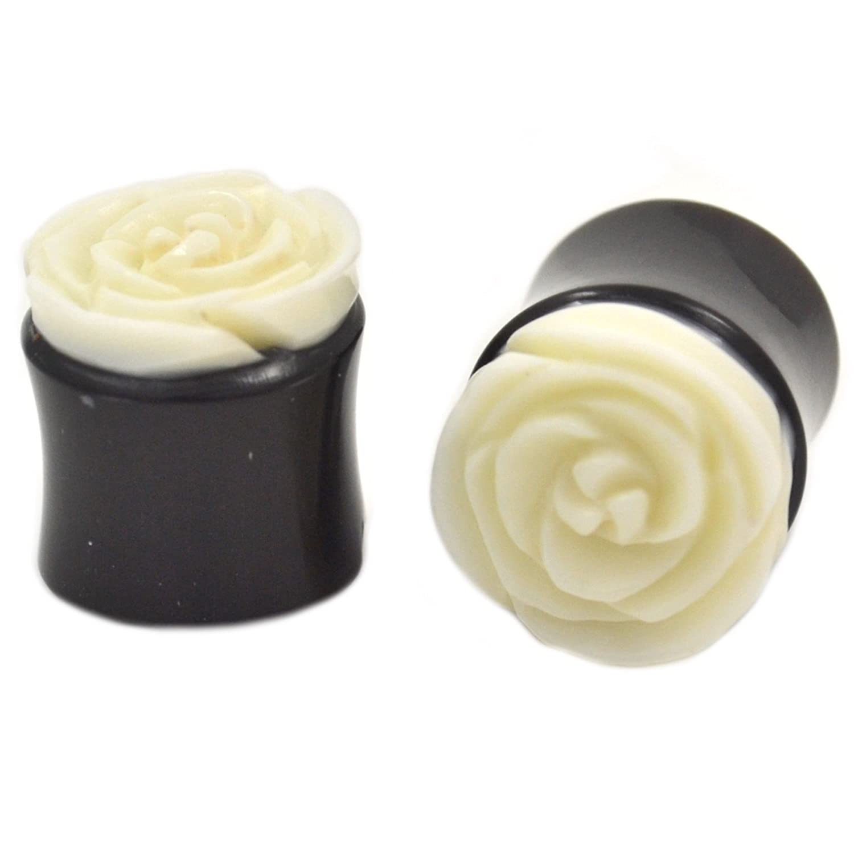 7//8 22MM Pair Organic Carved Bone White Rose Ear Plugs Horn Flower Tunnels 2
