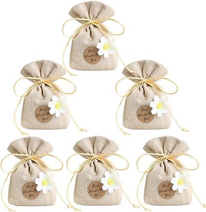 Gudotra 10pz Sacchetti Portaconfetti con Margherita in Iuta Cotone Tela  Bustina Bomboniere Confetti Regalo Gioielli per Matrimonio Battesimo