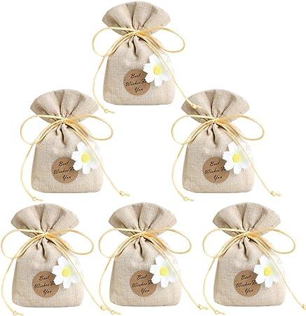 Bomboniere Confetti Matrimonio.Gudotra 30pz Sacchetti Portaconfetti Con Margherita In Iuta Cotone