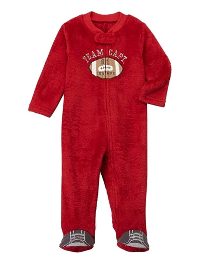 0be3ea0b5b Amazon.com  Infant Boys Red Fleece Football Blanket Sleeper Sleep   Play  Footie Pajamas  Clothing