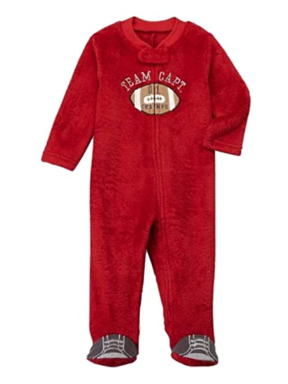 1979c29d82 Image Unavailable. Image not available for. Color  Infant Boys Red Fleece  Football Blanket Sleeper Sleep   Play Footie Pajamas