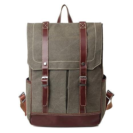 Mochila Bolsa de tela de la primera capa de cuero mochila de lona tipo cubierta portátil