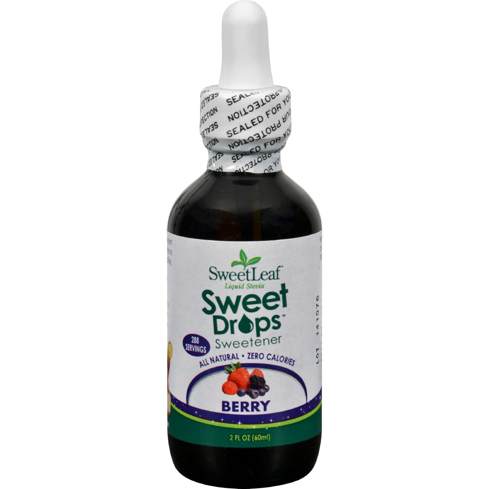 Sweet Leaf Liquid Stevia - Berry - All Natural - Healthy Sweetener - Zero Calories - 2 oz (Pack of 2)