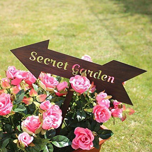 Rústico Metal jardín secreto flecha signo Stick en jardín o maceta: Amazon.es: Hogar