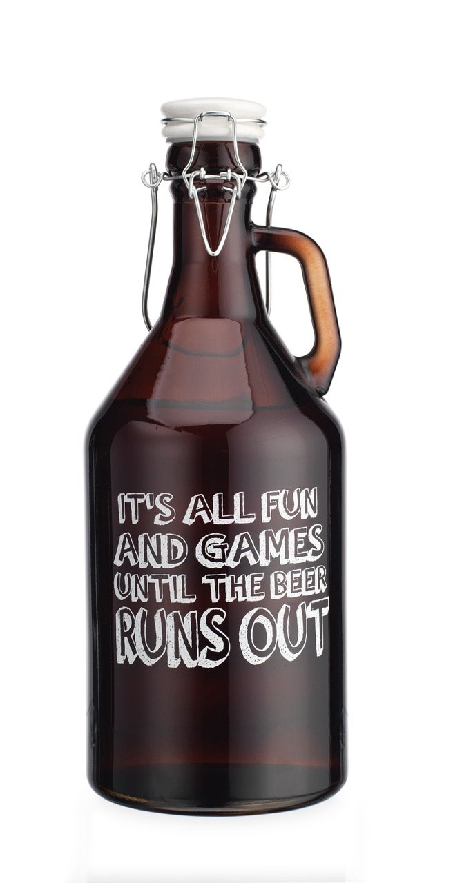 Original Glass Growler Its all Fun and Games Untill The Beer Runs Out 1/2 Gallon (64oz) with Hermetic Seal Ceramic Lid by TWI (Image #1)