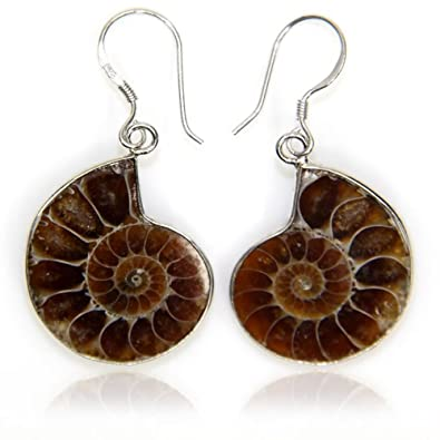 Natural Ammonite Fossil with S925 Sterling Silver Hook Charm Earrings wgi5Z4cNnE