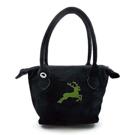 Schwarze Trachten Handtasche Dirndltasche Mit Gruner Stickerei