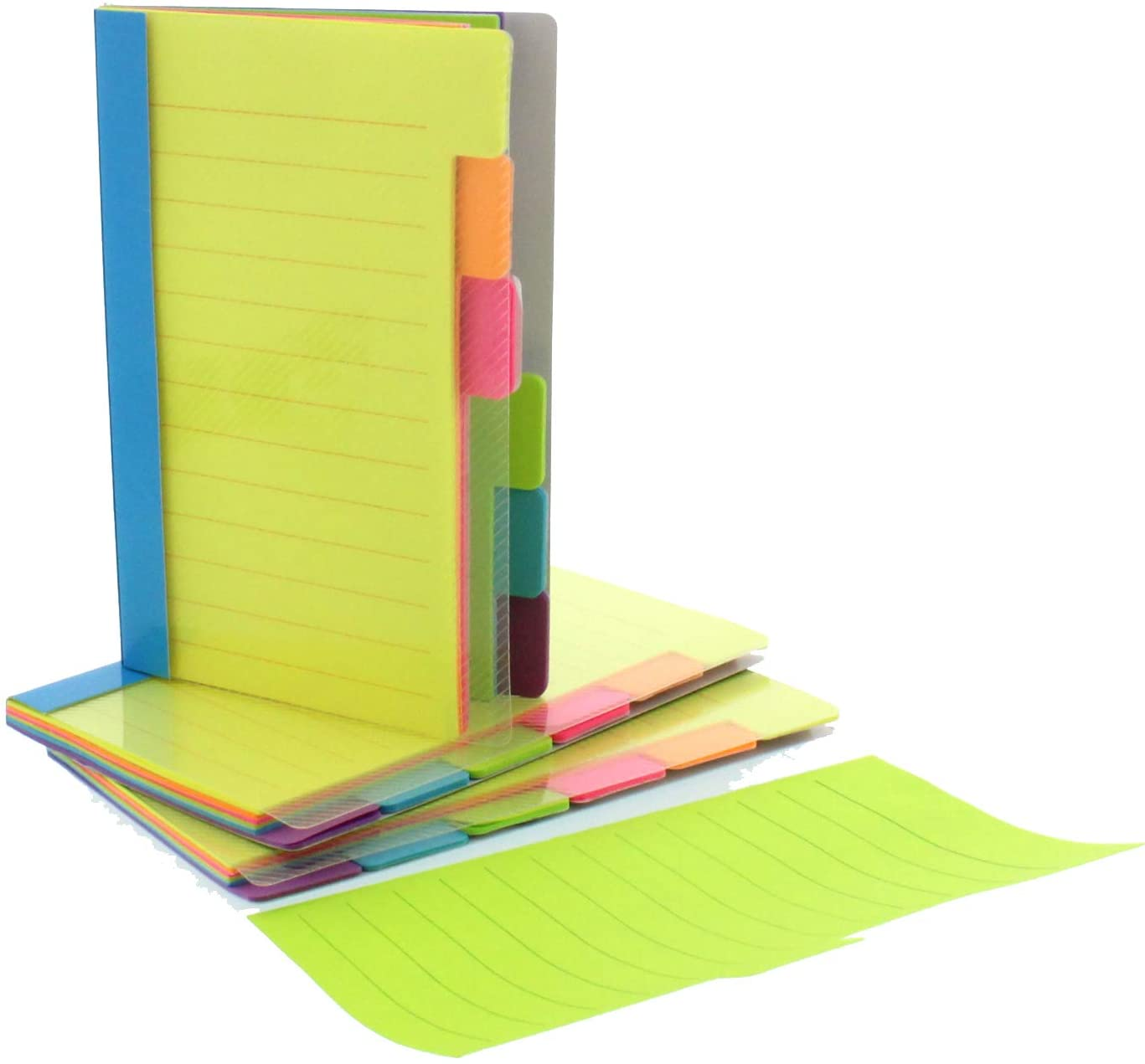 Redi-Tag Divider Sticky Notes, Tabbed Self-Stick Lined Note Pad, 60 Ruled Notes, 4 x 6 Inches, Assorted Neon Colors (29500) : Sticky Note Pads : Office Products