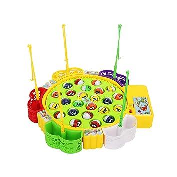 Sipobuy Go Fishing Game Fish Toy Juego de Mesa Musical con 5 cañas de Pescar Juego de rol de Mesa giratoria Regalos para niños Chicas Niños 3 4 5 años ...