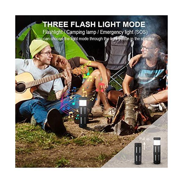Enceinte Bluetooth Portable, avec Lampe Torche LED, 5200mAh Powerbank, 30H en Lecture, Basses Puissantes, IPX67 Waterproof, Mains Libres Téléphone, Enceintes Bluetooth sans Fil pour Camping, Cyclisme 3