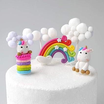 Juego de 5 adornos para tartas, diseño de nube arcoíris y ...