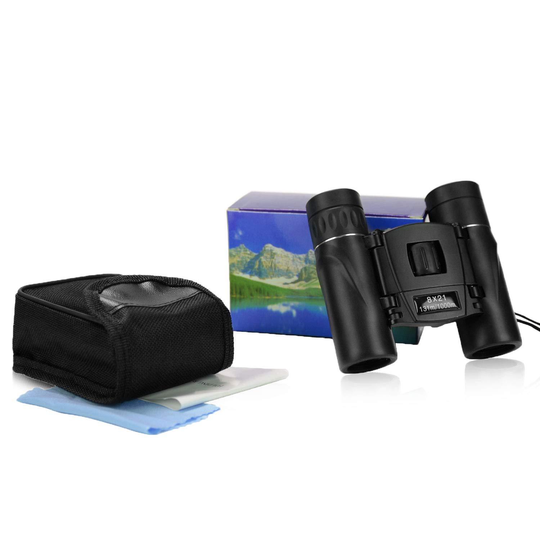 8X21 Mini Binoculars Lightweight Compact Folding Binoculars with Waterproof Clear Optical Lens for Adults Kids Childern Bird Watching Football Games Opera Theater Safari Sightseeing Hunting