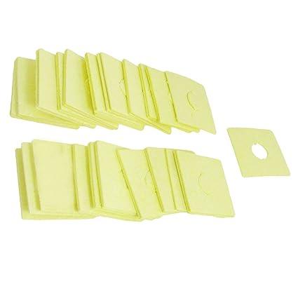 Sourcingmap a12060600ux0034-40 piezas de 60 x 60 x 1.8mm soldador soldadura esponja amarilla