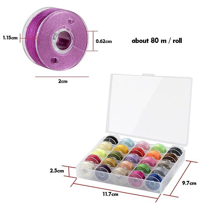 Witasm Bobinas de la máquina de coser con 50 hilos de coser Carretes de la máquina de coser en 50 colores en la caja del carrete: Amazon.es: Hogar