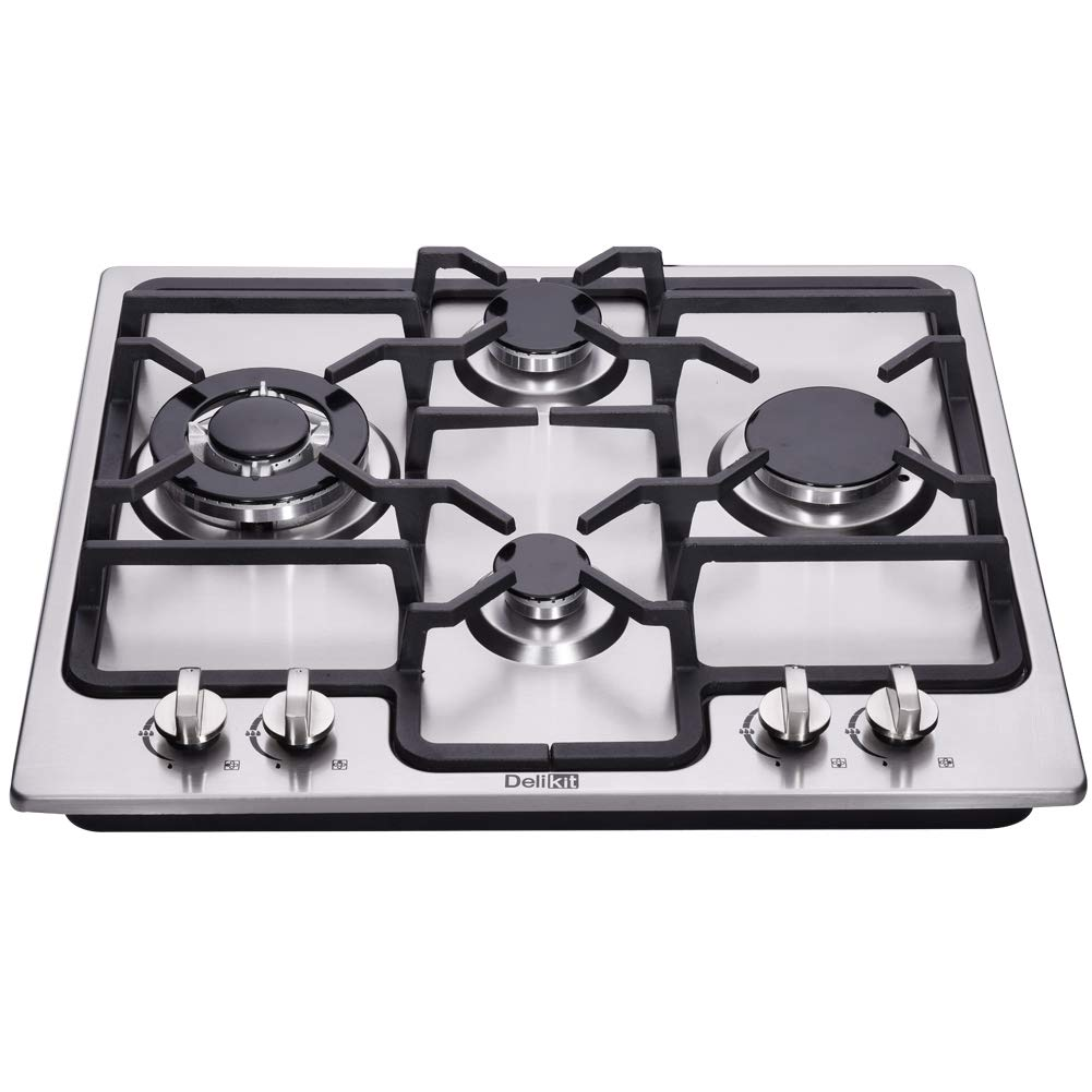 DeliKit DK245-A04 24 inch gas cooktop gas hob stovetop 4 burners LPG/NG Dual Fuel 4 Sealed Burners Stainless Steel Built-In gas hob 110V AC pulse ignition gas cooktop gas stove