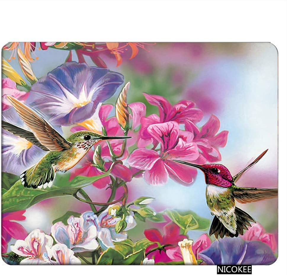 NICOKEE Bird Rectangle Gaming Mousepad Funny Novelty Hummingbird Mouse Pad Mouse Mat for Computer Desk Laptop Office 9.5 X 7.9 Inch Non-Slip Rubber