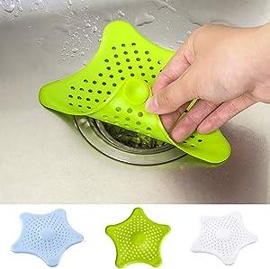 LATIBELL 3 Pcs Silicone Drain Hair Catcher, Kitchen Sink Strainer - Bathroom Shower Sink Stopper - Drain Cover Hair Trap, Filter for Kitchen Bathroom Tub