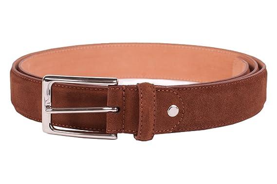 61b32418a618bd Leder-Gürtel für Herren in kastanie: aus 100% Veloursleder, hergestellt in  Handarbeit, ideal als Jeans-Gürtel, Anzug-Gürtel - Vollleder Hosen-Gürtel:  ...