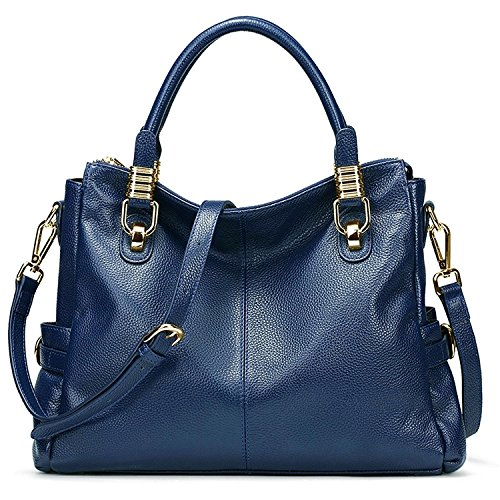 AINIMOER Womens Genuine Leather Vintage Tote Shoulder Bag Top-handle Crossbody Handbags Large Capacity Ladies' Purse (Blue) by AINIMOER