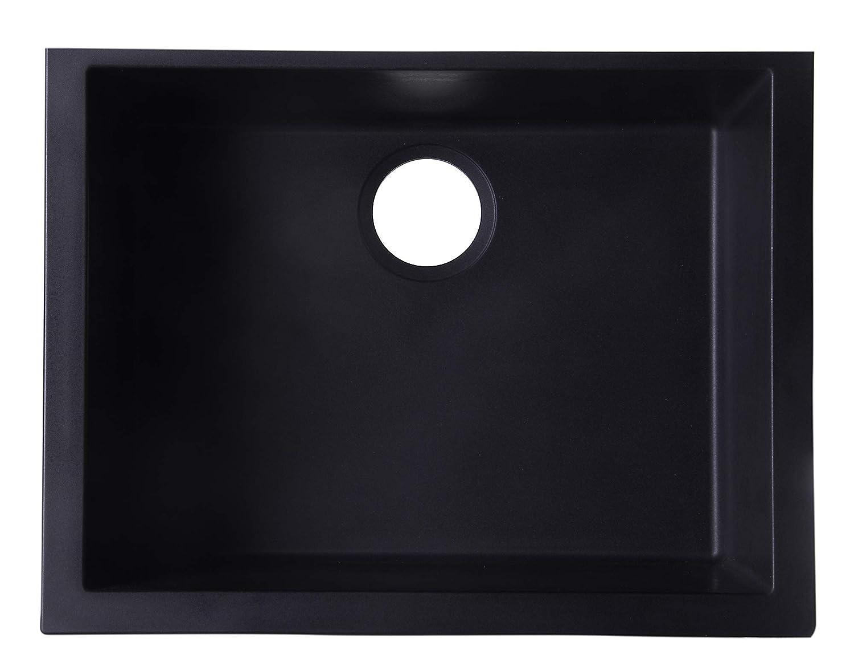 ALFI brand AB2420UM-BLA Undercount Single Bowl Granite Composite Kitchen Sink, 24 , Black