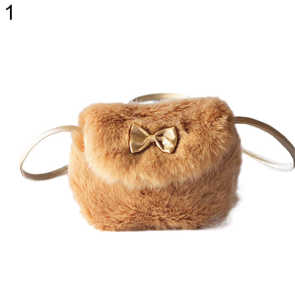 Little Finger Winter Faux Fur Kids Girl Lovely Bowknot Mini Single Shoulder Crossbody Bag Handbag size One size 5#