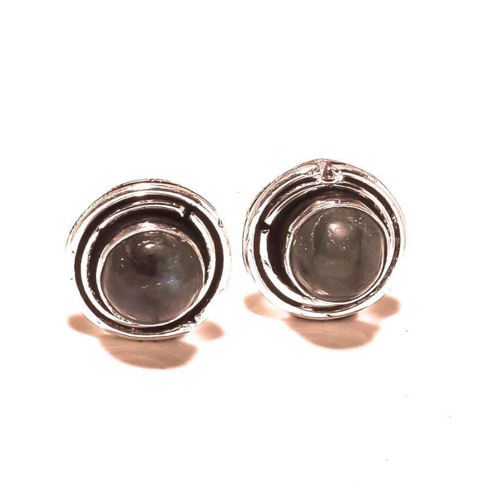 Black Labradorite Sterling Silver Overlay 5 Grams Stud//Earring 12 mm Wonderful