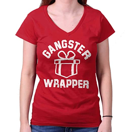 c40d12e9 Brisco Brands Gangster Wrapper Present Gift Christmas Junior Fit V-Neck T  Shirt Cherry Red
