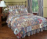 Kensington Garden Reversible Quilt Set, Traditional Floral Patchwork Quilt, 3-Piece Set with Quilt and Pillow Shams - Full/Queen, Kensington Garden