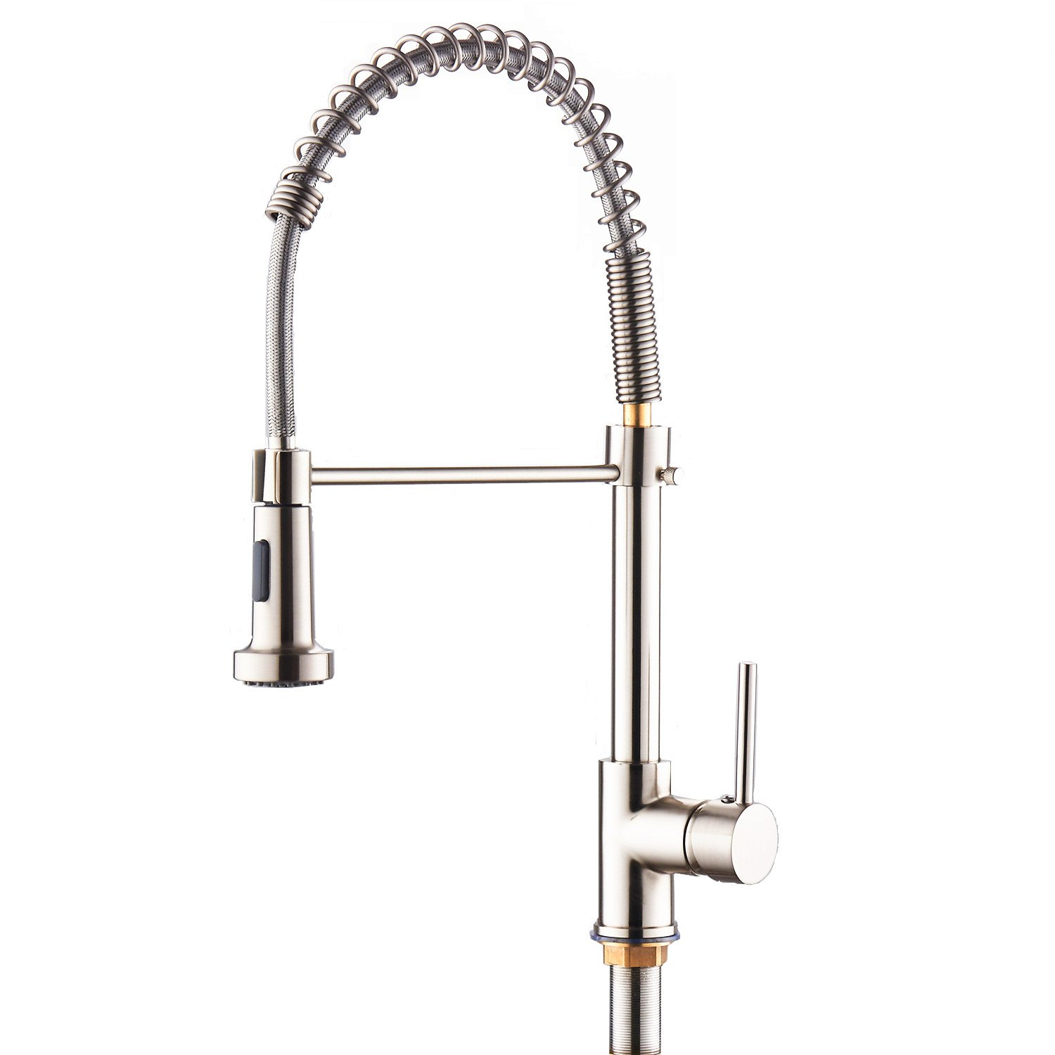SOQO Modern Commercial One-Handle Pre-Rinse Pull Down Adjustable Kitchen Faucet Dual Function with Shower Sprayer (Brushed Nickel) by SOQO