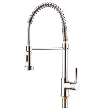 SOQO Modern Commercial Kitchen Bar Faucet Spring Single Handle Pull Down  Adjustable Kitchen Sink Faucet With