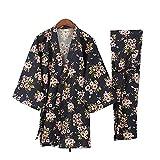 Kylin Express Women's Japanese Style Close-fitting,short sleeves Cotton Kimono Pajamas Suit Dressing Gown Set, K